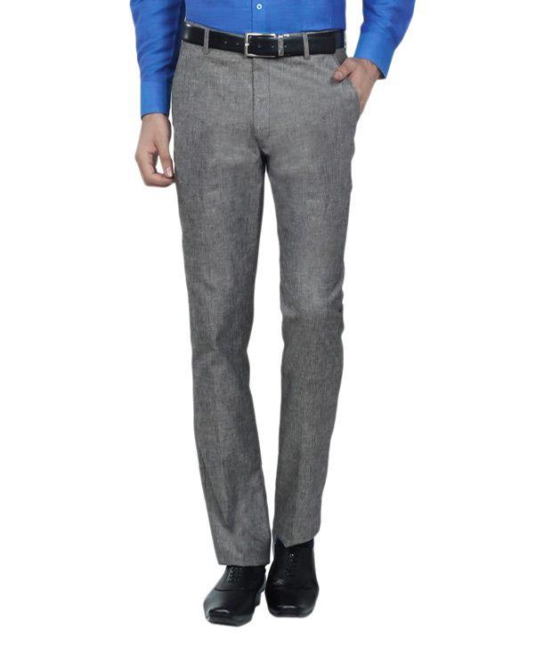 K Magnum Apparels Grey Regular Fit Formal Flat Trouser - Pack Of 2