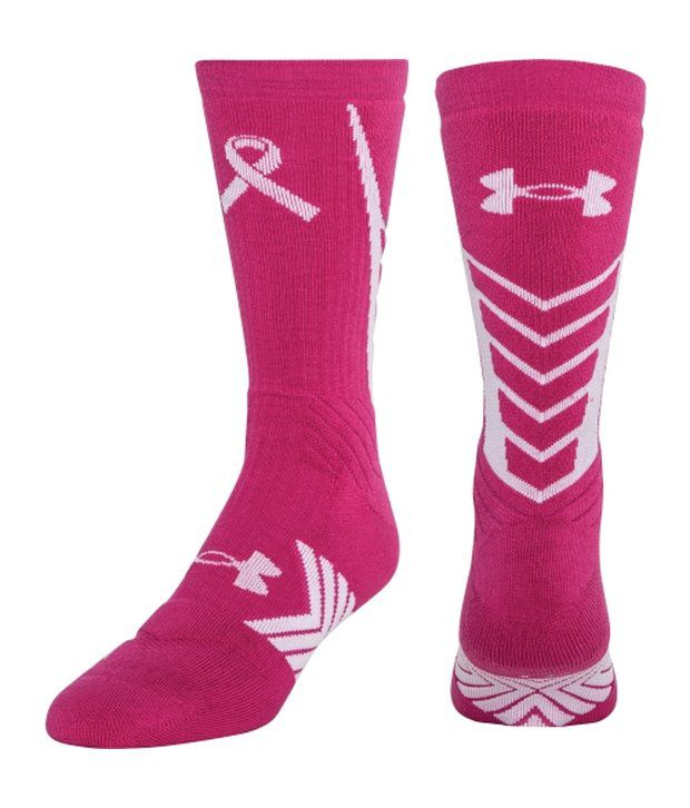Under Armour Pink & White Undeniable Crew Sock