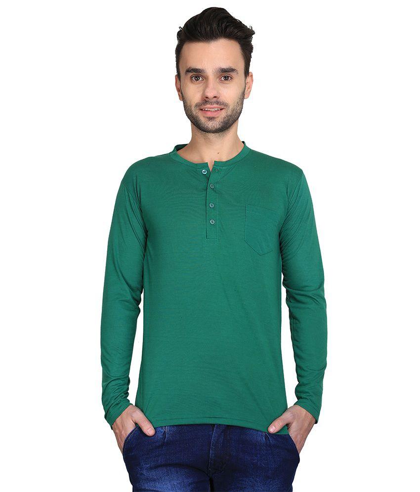 Ave Green Cotton Henley T-shirt