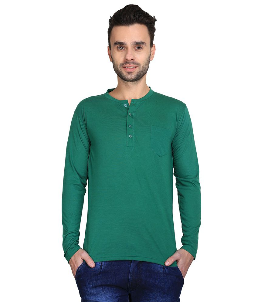 Ave Green Cotton Henley T-shirt