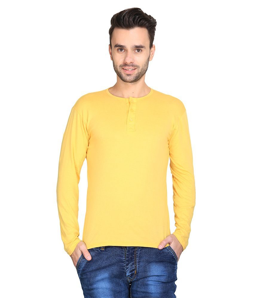 Ave Yellow Cotton Henley T-shirt