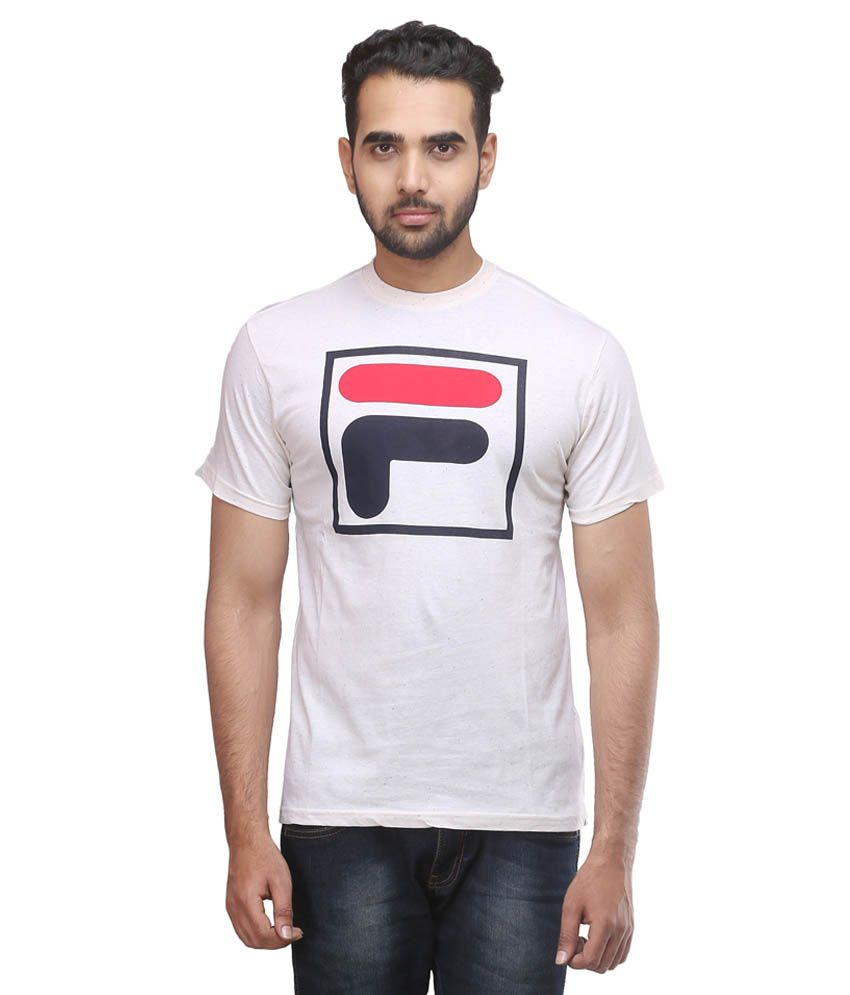 Fila Off White Cotton T Shirt