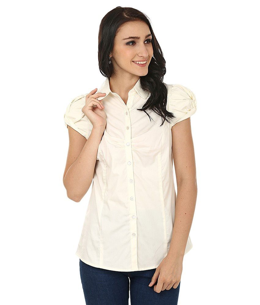 Forever Fashion Beige Cotton Shirts