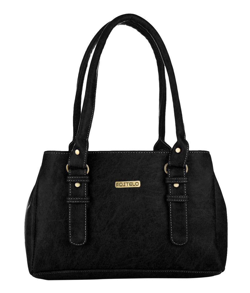 Fostelo Black P.u. Shoulder Bags