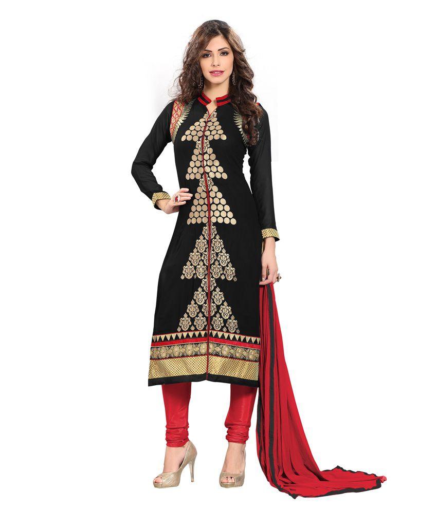 Arrsalaan Black Pure Georgette Semi Stitched Dress Material