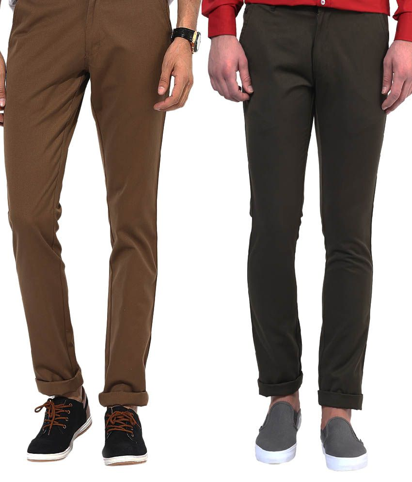 Bukkl Combo Of Dark Brown And Olive Slim Fit Casual Chinos