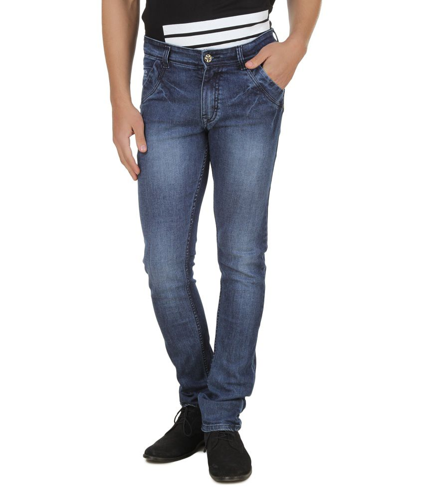 Threads Blue Regular Fit Jeans