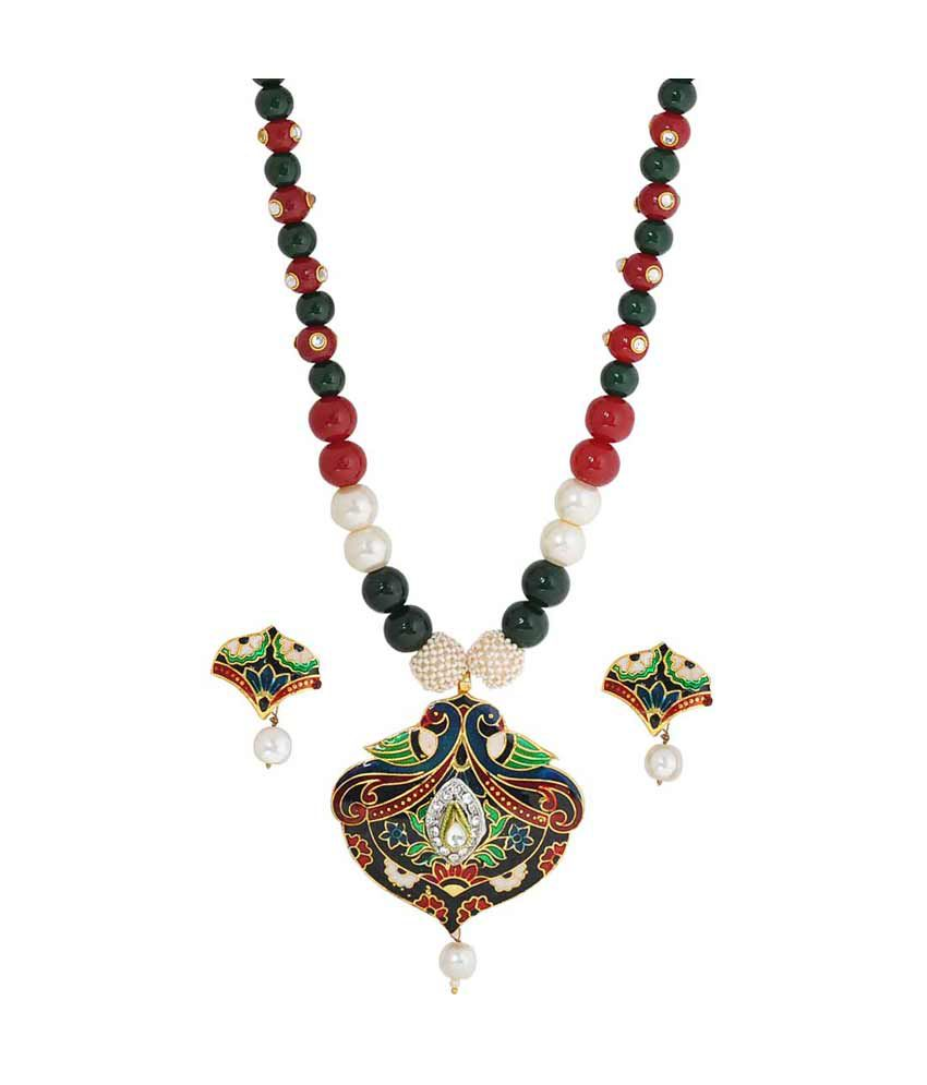 Maayra Multicolour Meenakari Necklace Set With Earrings