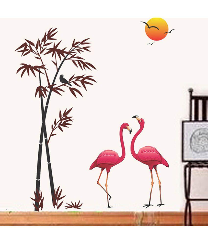 Stickerskart Lovely Pink Flamingos Bamboo At Sunset Wall Sticker Online Best