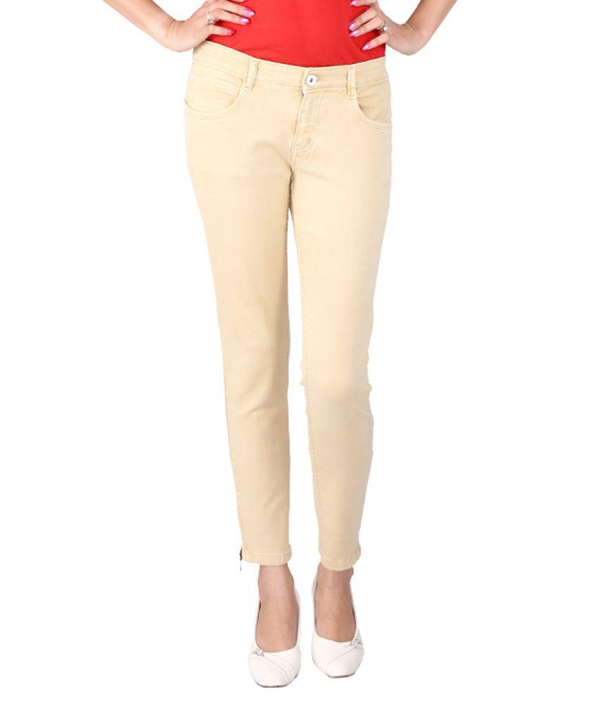 Fck-3 Beige Denim Jeans