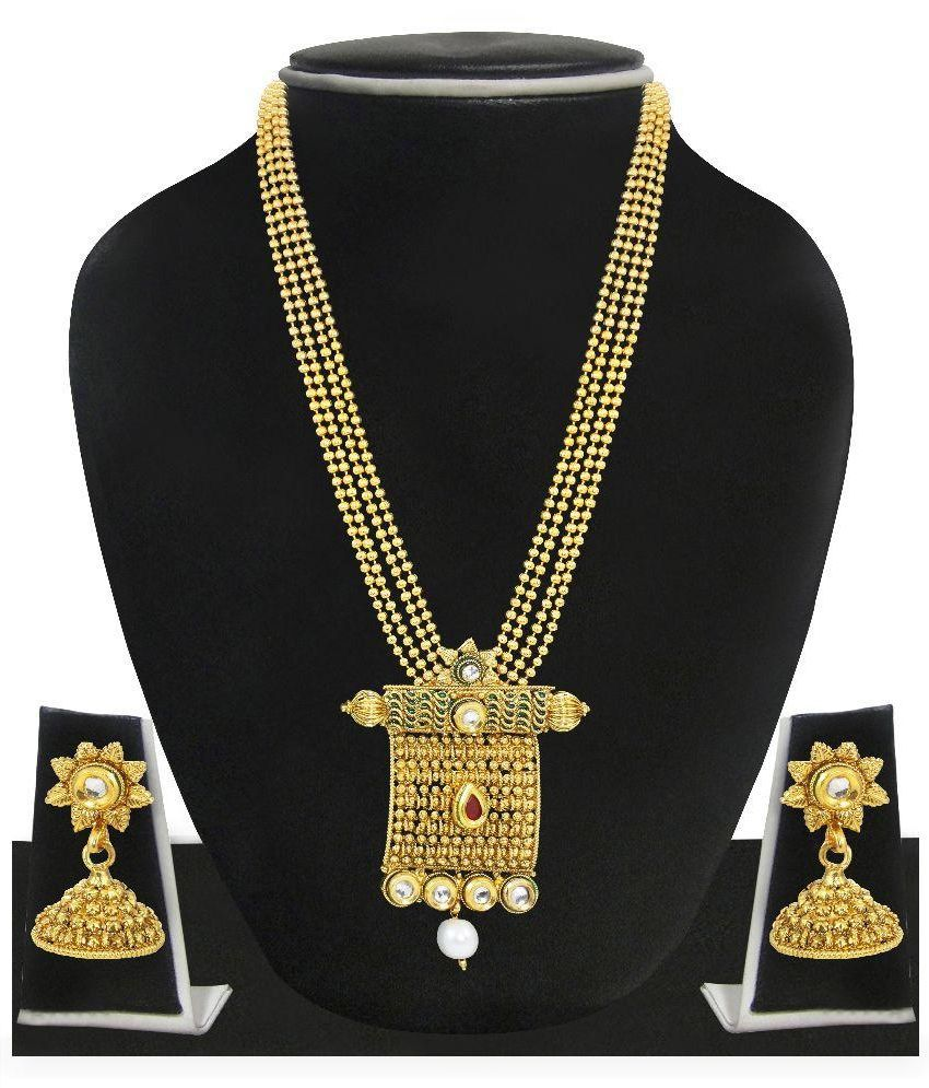 Zaveri Pearls Golden Necklace Set