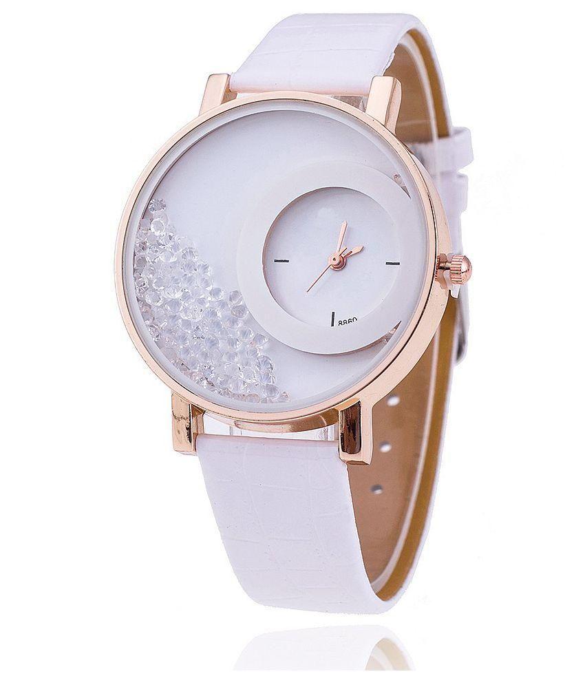 JM White Leather Analog Watch