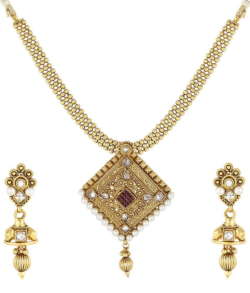 Jewels Galaxy Ruby Traditional Handcrafted Triangular Necklace Set
