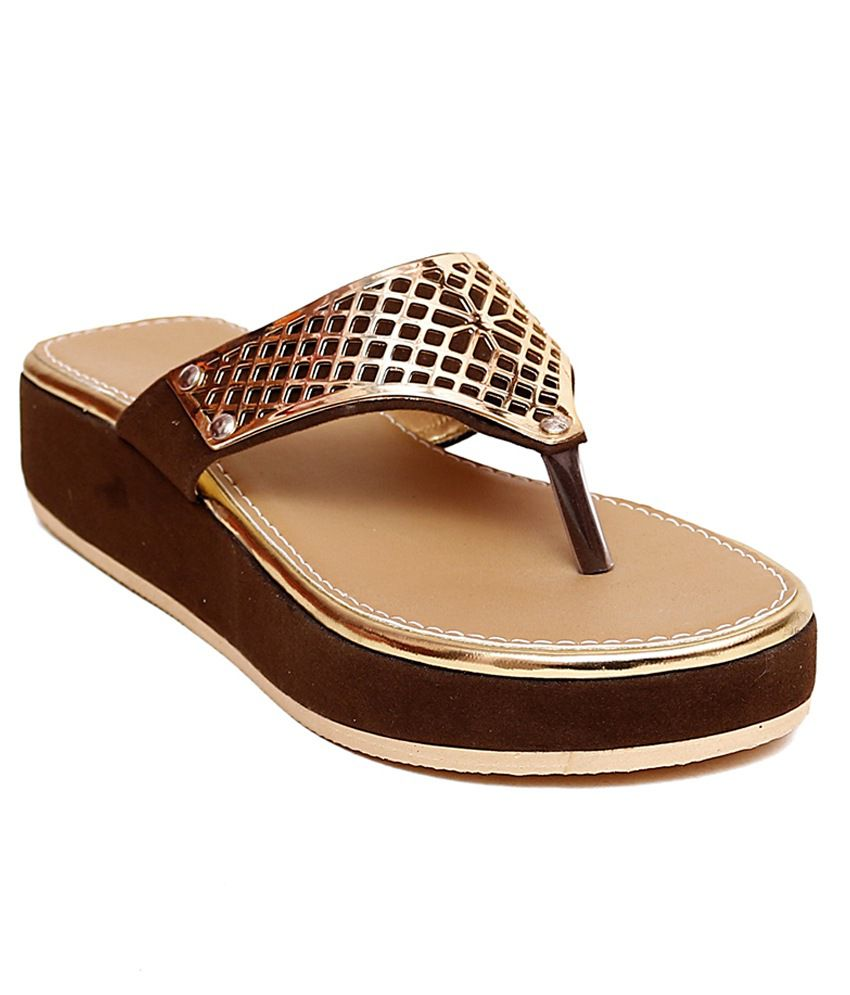 Ladies Zone Brown Platform Heels
