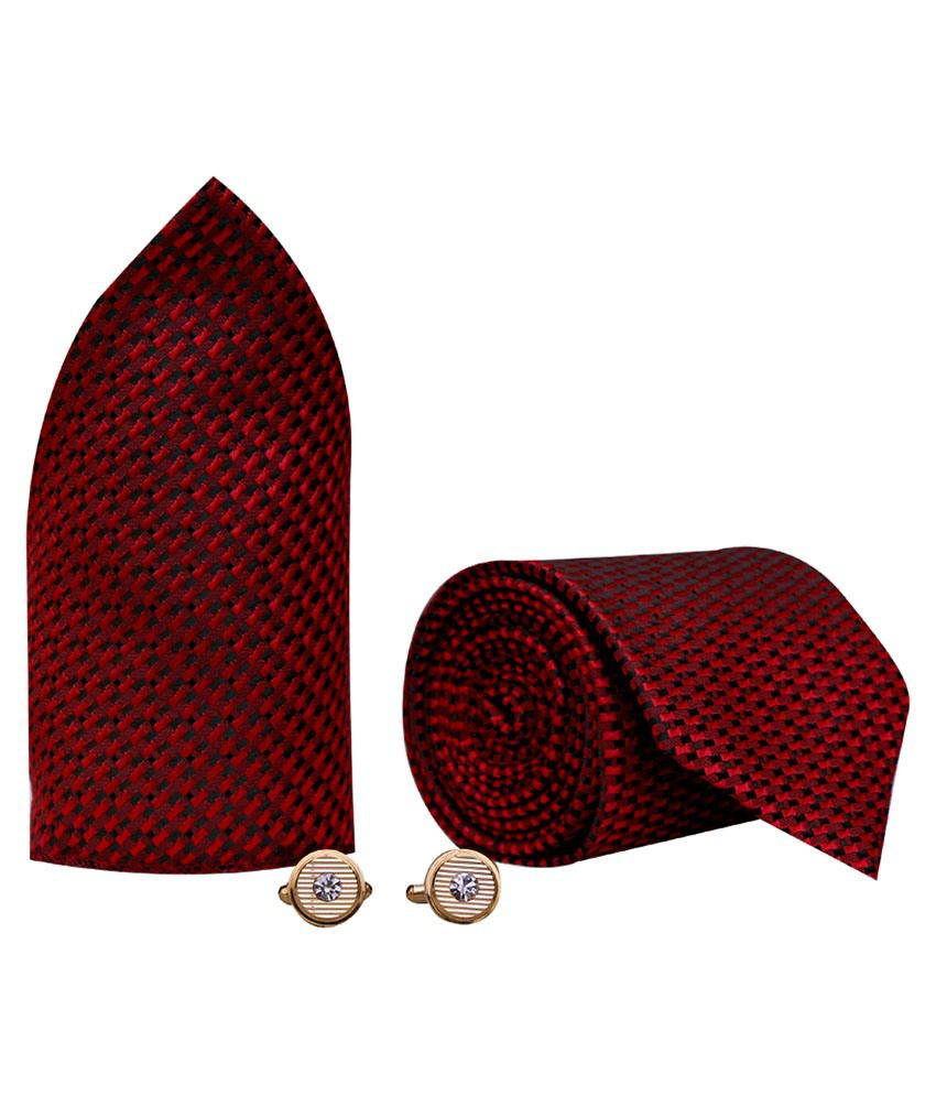 761fd96ea774 Posto Maroon Formal Necktie With Pocket Square And Cufflinks: Buy Online at  Low Price in India - Snapdeal