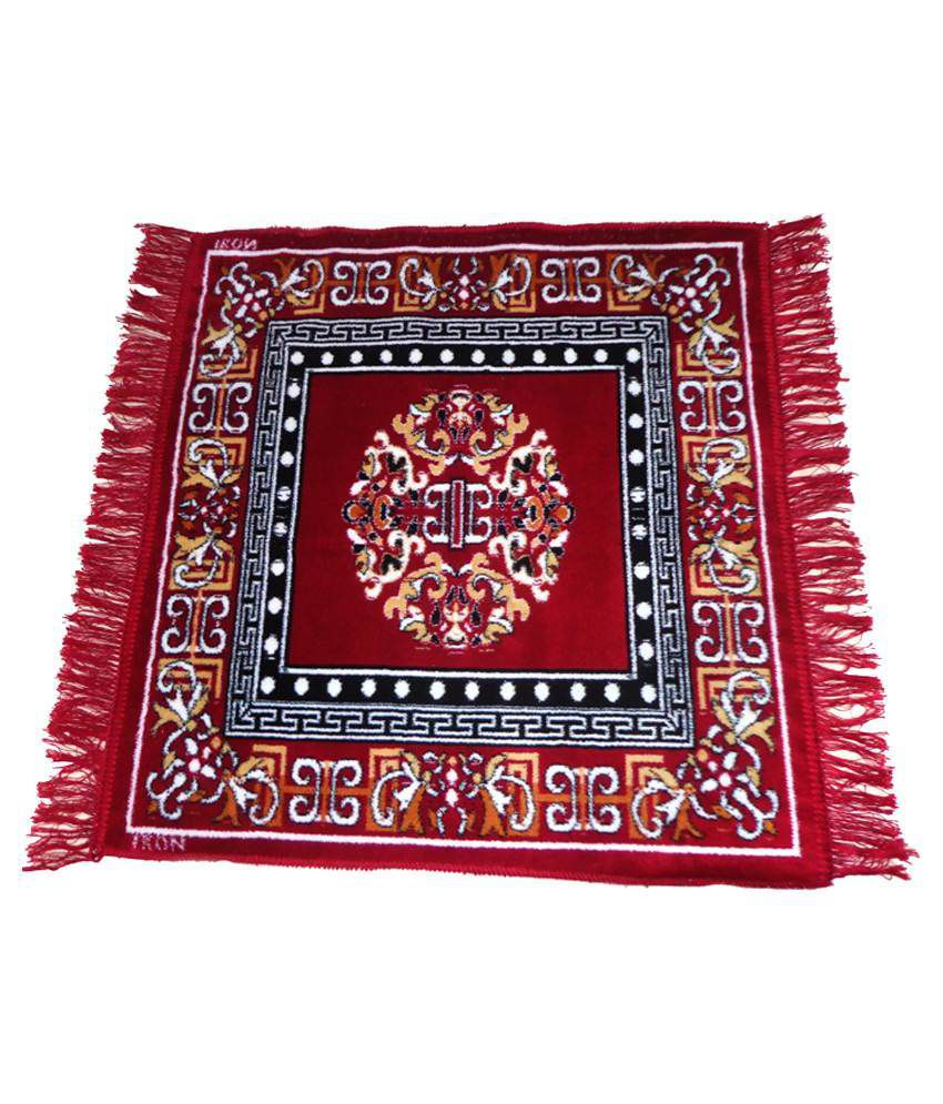 India Furnish Red Cotton Schenelle Carpet Natural 4x6 Ft