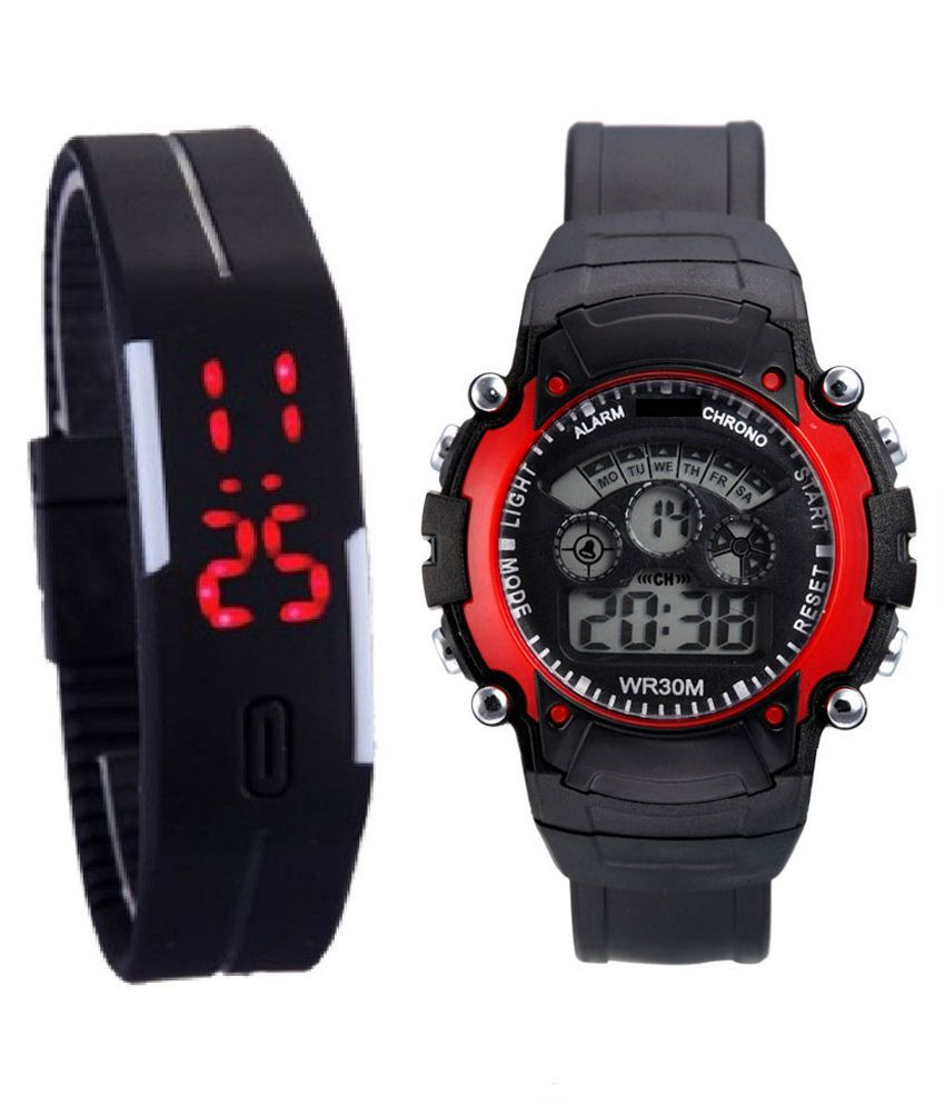 Jm Black Rubber Digital Watch For kids - Set Of 2
