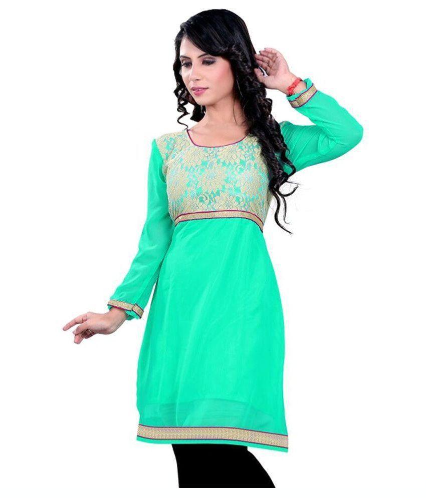 Ramapir Fashion Green Cotton Silk Kurti