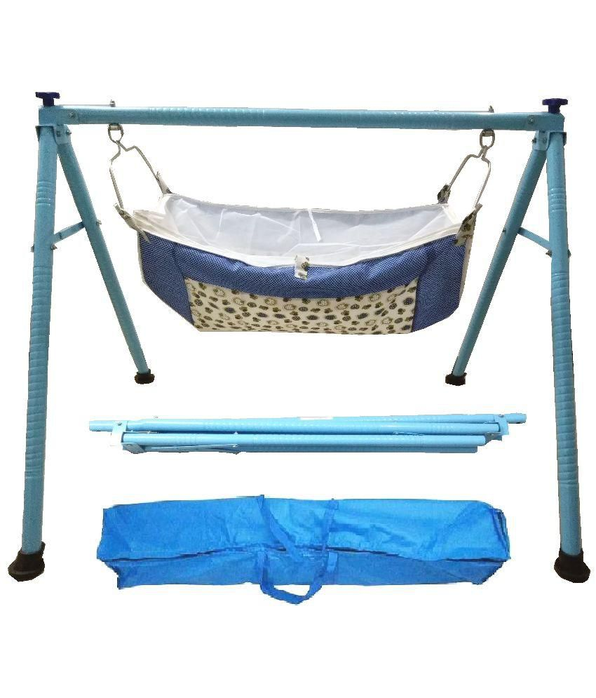 Smart Baby Products Blue Round Pipe Folding Baby Cradle