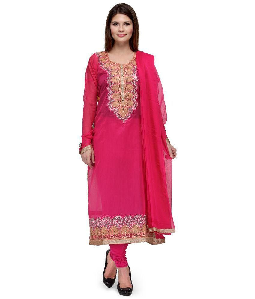 VINBI Pink Cotton Silk Unstitched Dress Material