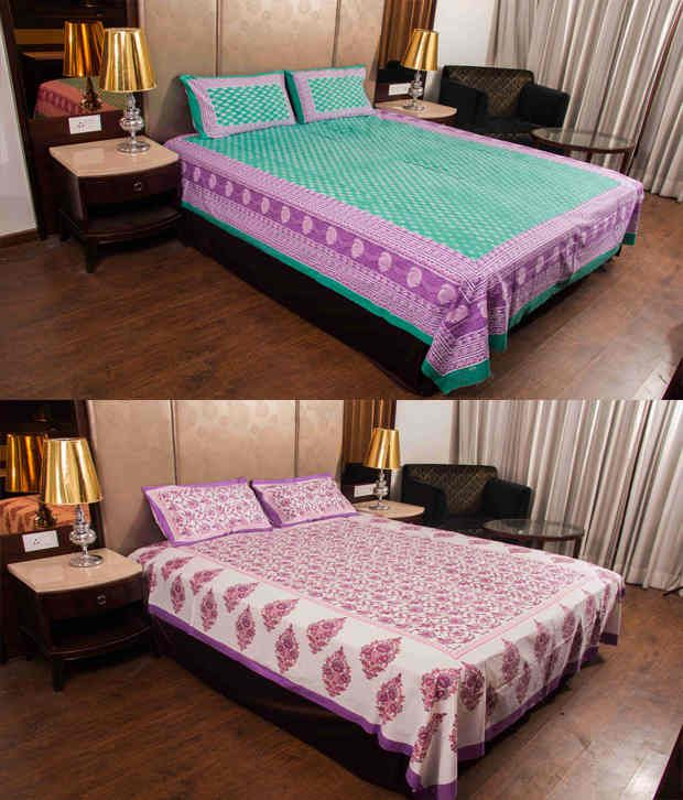 Kismat Collection UniqDesigner 2 Floral & Traditional Printed Double Bedsheet With 4 Pillow Covers
