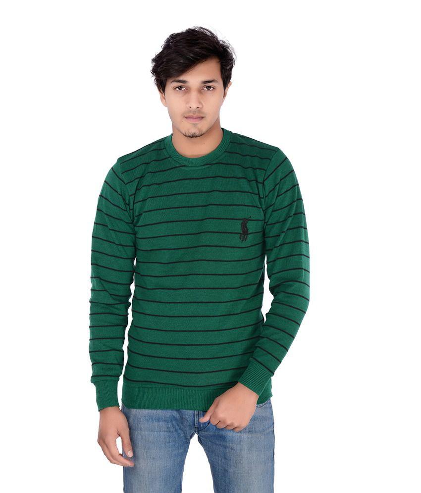 Teekraft Green And Black Cotton T-shirt