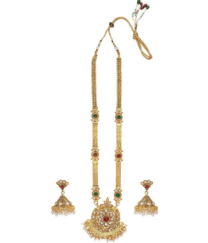 Aashvi Creation Golden American Diamond Designer Necklace Set