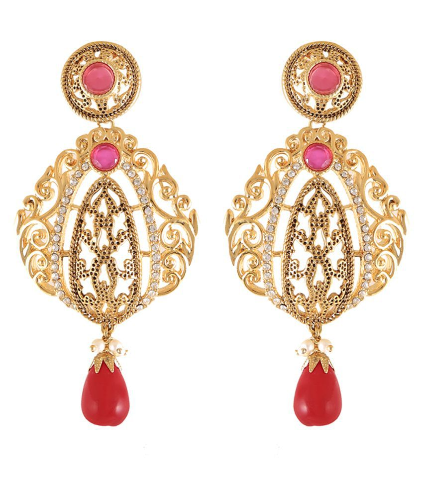 Catchme Golden Alloy Hanging Earrings