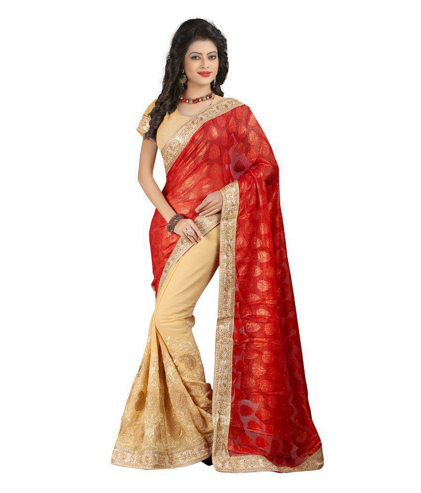 Ganpati Textile Red Faux Georgette Saree