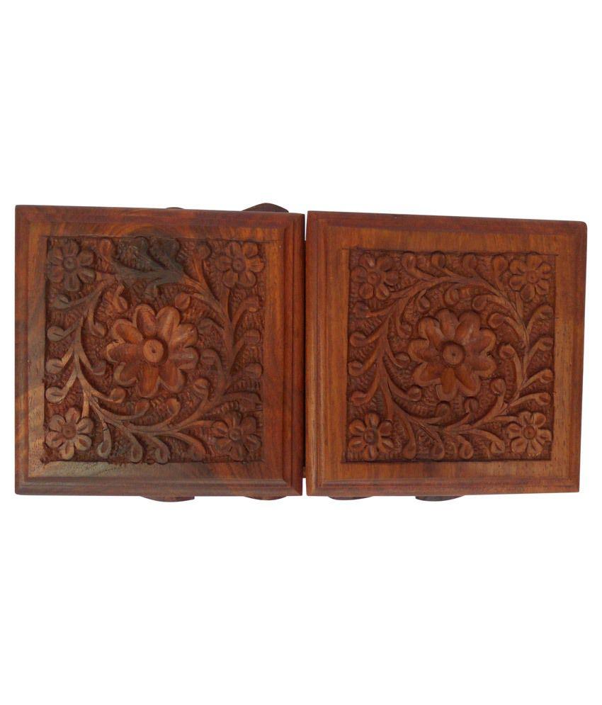 Handicraft Brown Sheesham Wood Carved Sliding Jewelry Box