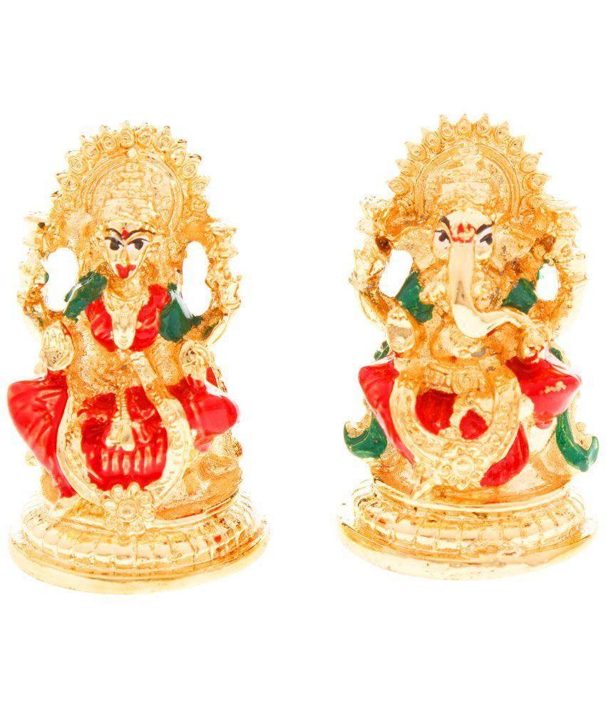 Veevi Gold Plated Lakshmi and Ganesh Idols