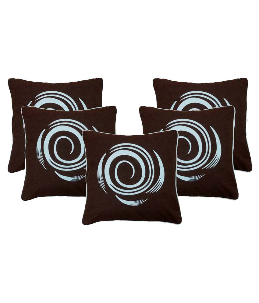Zentass Brown Cotton Printed Cushion Covers - Set Of 5