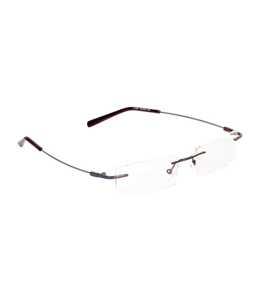 Redex BROWN Rimless Rectangle Eyeglasses Frame For Men ...