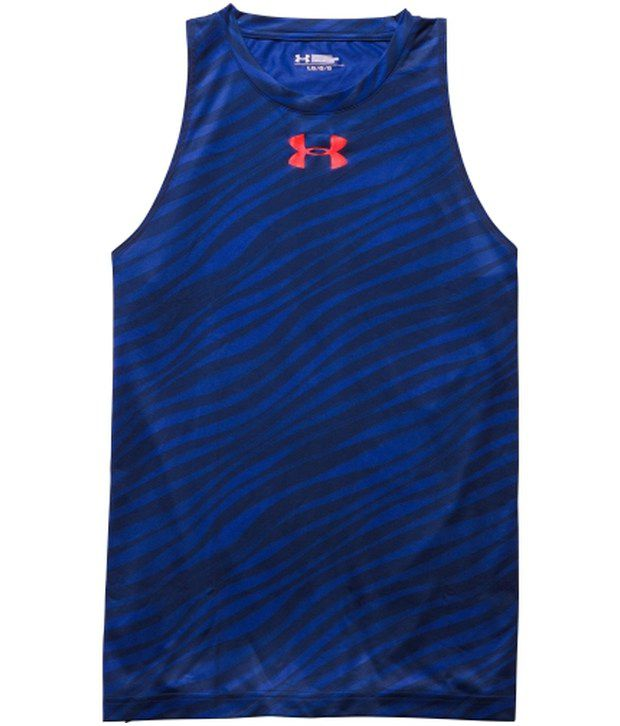 Under Armour Under Armour Blue Mens Mace Print Basketball Sleeveless Tank