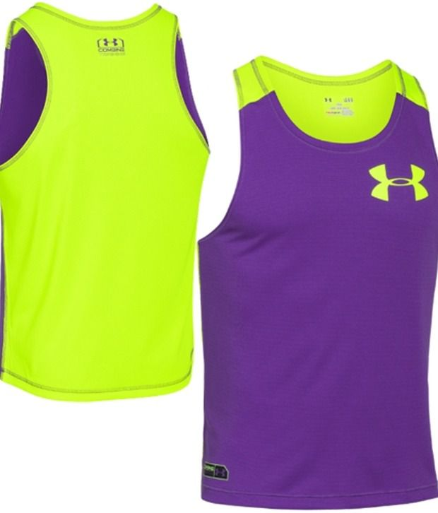 Under Armour Under Armour Green And Purple Mens Combine Training Plus Sleeveless Tank (pack Of 2)