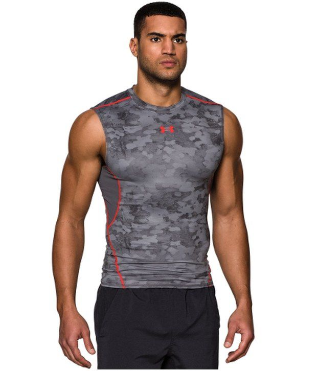 Under Armour Under Armour Grey And Red Heat Gear Armour Printed Compression Sleeveless Mens Tanks