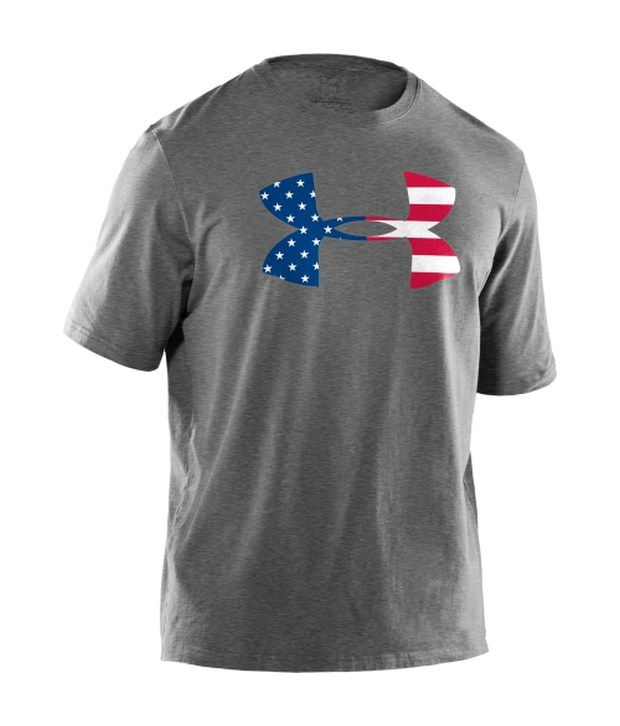 Under Armour Under Armour Grey Mens Big Flag Logo T-shirt