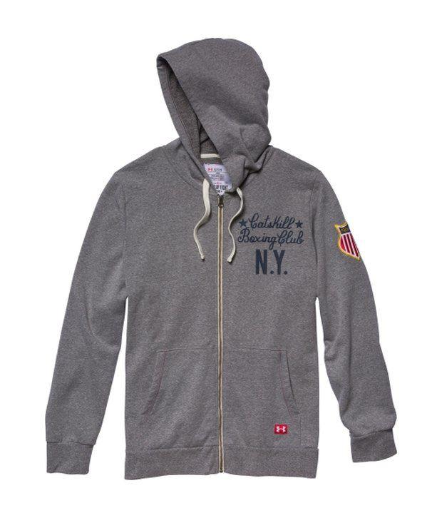 Under Armour Under Armour Grey Mens Roots Of Fight Fleece Full Zip Sweatshirt
