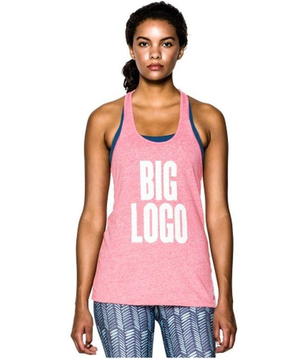 Under Armour Under Armour Pink Womens Charged Cotton Tri-blend Big Logo Graphic Tees