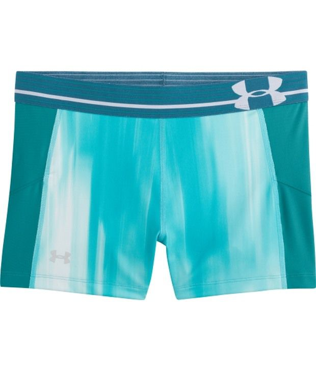 Under Armour Under Armour White And Green Womens Heat Gear Armour Printed Shorts