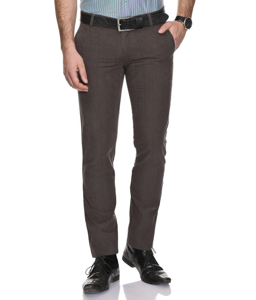 John Players Brown Slim Formals Trousers
