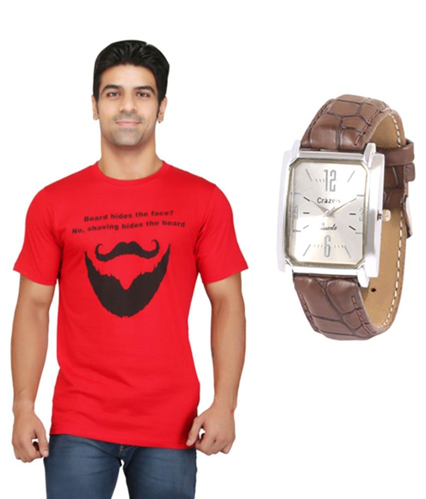 Crazeis Red Cotton T-shirt With Wrist Watch