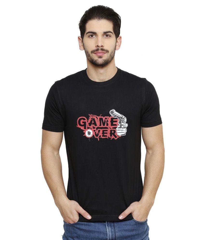 Crazy Lifestyle Black Cotton Blend Round Neck T-shirt