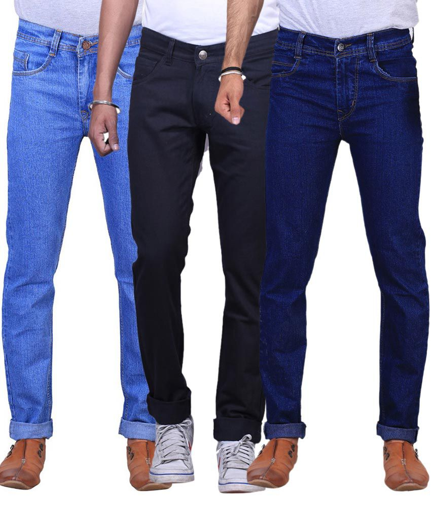 Ne Blue And Black Slim Fit Jeans - Pack Of 3