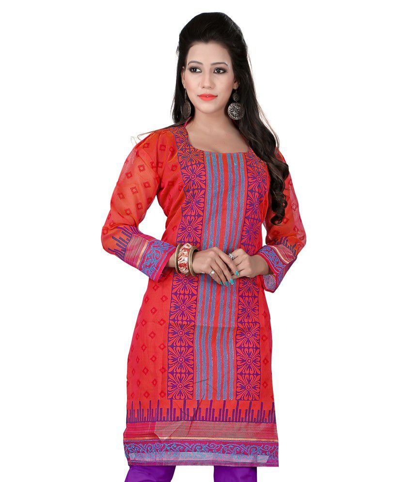 Azara Lifestyle Red Silk Kurti