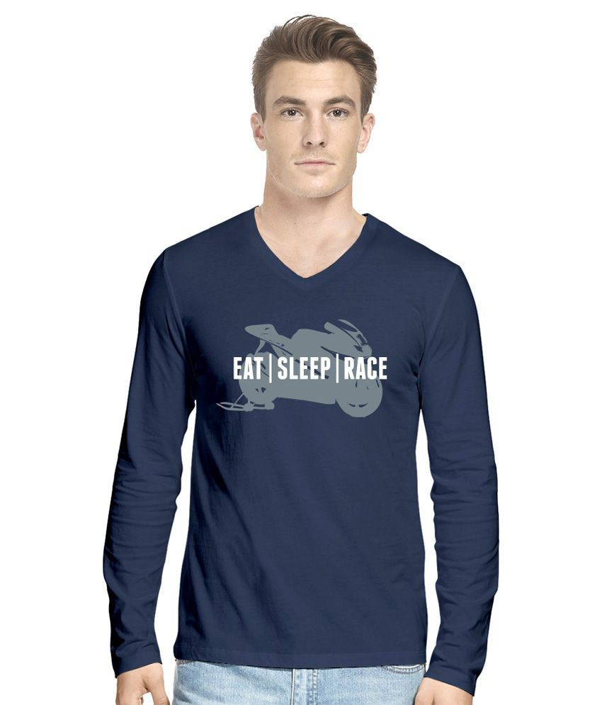 Hueman Navy Blue Cotton T Shirt