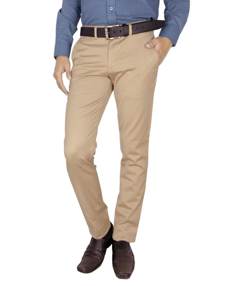 Integration Beige Slim Fit Casual Trouser
