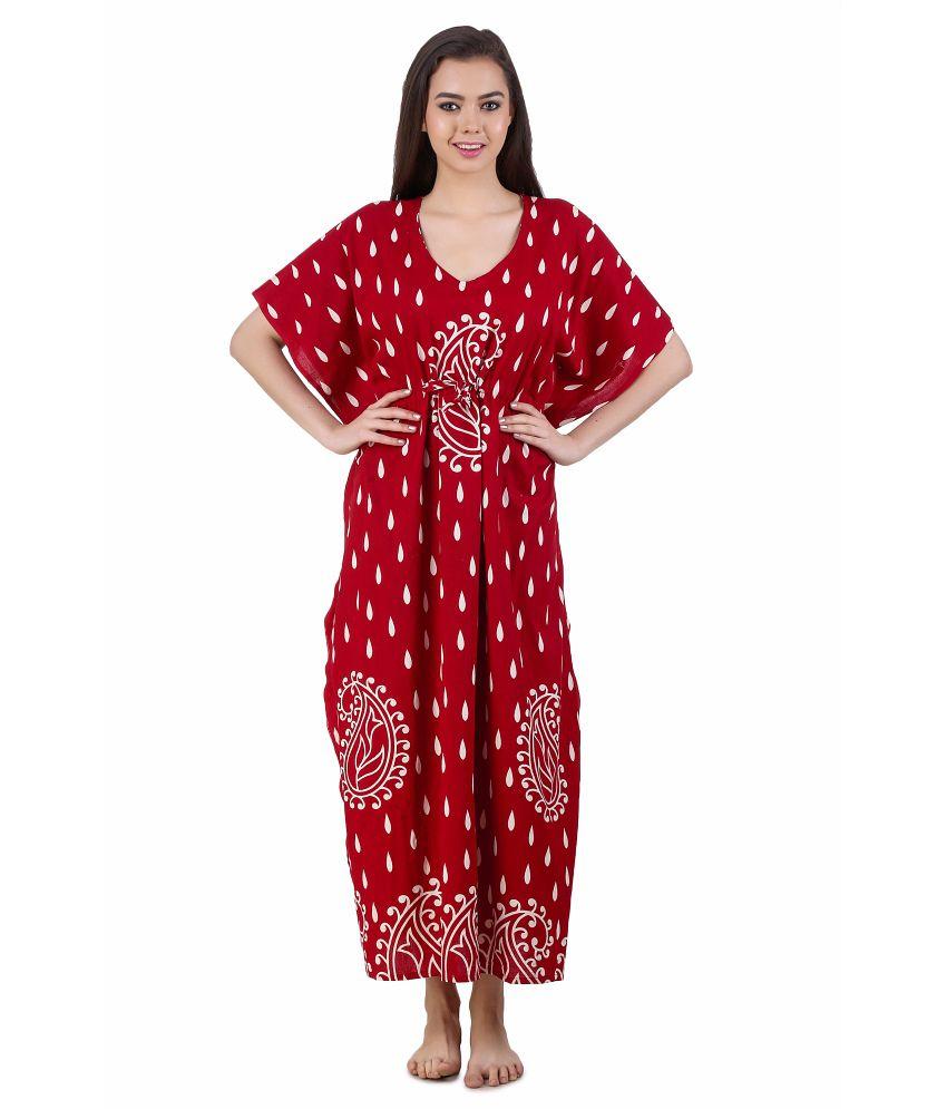 Masha Red Cotton Nighty