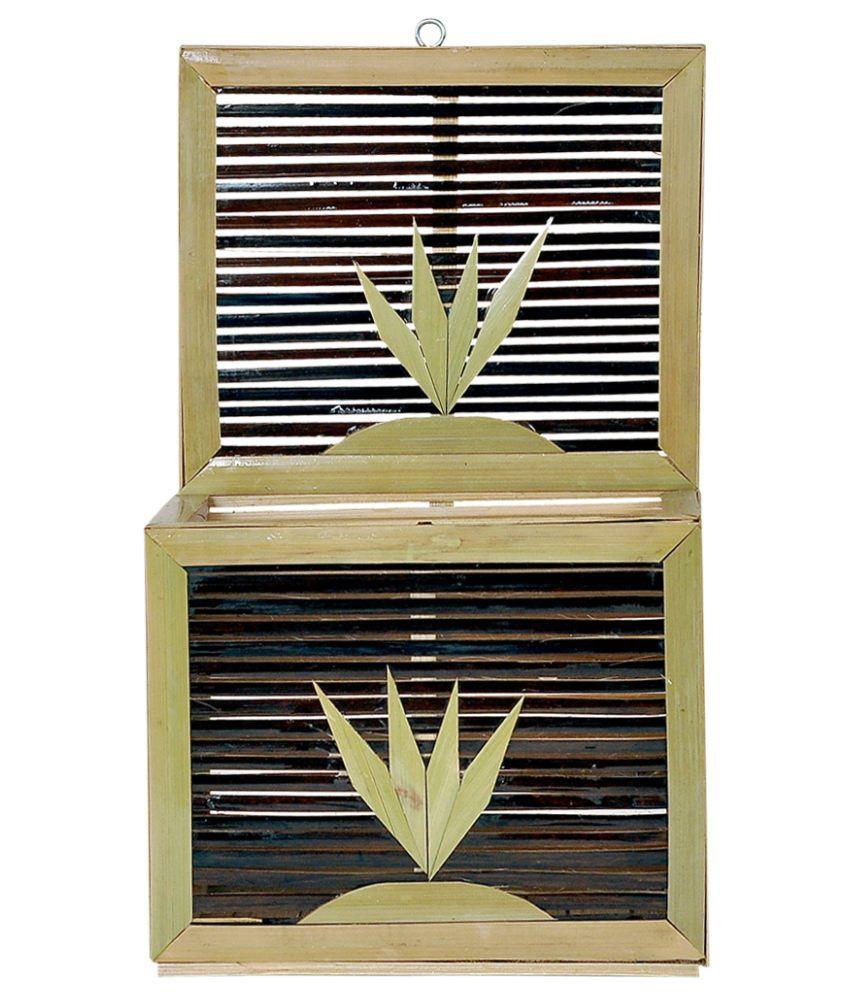 Raspberry Brown Bamboo Craft Leaf Design Letter Box