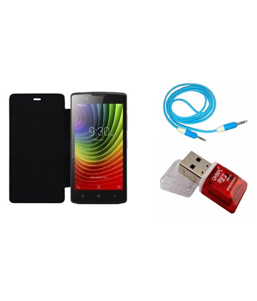 Ags Flip Cover For Lenovo A2010-black With Aux Cable & Card Reader